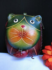 NEW WOMEN CAT MOUSE GREEN PURSE SMALL COIN BAG KEY CHAIN GENUINE LEATHER WALLET