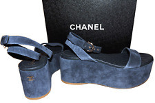 15S CHANEL Navy Blue Wedge Quilted Strappy Sandals Shoes Slingback 7 - 37.5