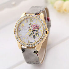 Ladies Fashion Floral Grey Gold Multi-Colour Vintage Print Leather Strap Watch