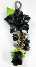 Black Genuine Leather Keychain KeyRing Purse Women Charm Flower Floral Leaf Hook