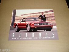 1993 Cadillac Allante Indy 500 Pace Car sales brochure card sheet Unser driver