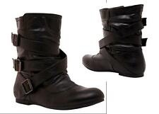 TORRID Black Shelly Boots mid calf cross straps buckles goth punk rock ( 6 ) $54