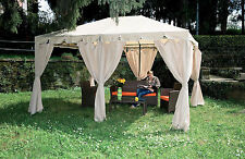 Gazebo giardino acciaio Armonia mt 3x4 con tende per giardino terrazzo