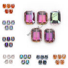 Bulk Charms 14x10mm Rectangle Square Faceted Crystal Glass Beads 9 Colors
