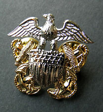 US Navy Officer Solid 3-D Cap Hat Jacket Lapel Pin 1.25 inches USN