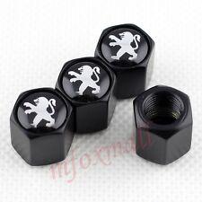 4X Black Car Wheel Tire Tyre Valve Dust Cap Cover Trim For Peugeot 301 208 308
