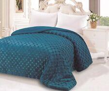 Teal Blue 3D Diamond Plush Super Soft Borrego Sherpa Blanket King Size New