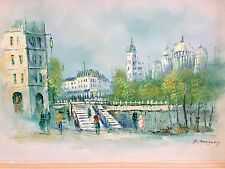 Vintage MID-CENTURY Modern Cityscape Oil Painting Canvas Signed P. MURPHY Framed