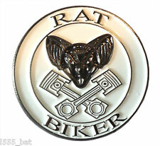 Rat Biker Rat Look Rider Custom Bike Motorcycle Motorbike Metal Rocker Badge