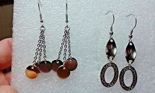 Ion Plated Yg and Stainless Steel set of 2 Dangle earrings