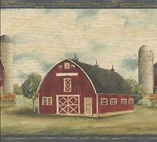Wallpaper Border Country Farmhouse Red Barn In Pasture With Blue Trim