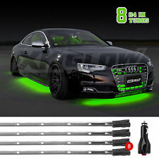 8pc BRIGHT SLIM TUBE LED UNDERBODY UNDERCAR NEON GLOW LIGHTS 3 MODE-GREEN
