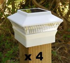 """4 Solar Fence Cap Post Lights White 3 5/8"""" x 3 5/8"""" (for 4x4 Wood Posts Only) wd"""