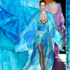 100% PURE SILK CHIFFON FABRIC BLUE WITH PRINT BY THE METER S007