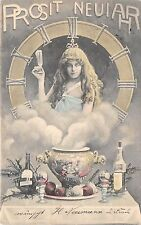 BG14870 fantasy woman clock festive table champagne new year neujahr  germany