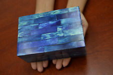 BLUE BONE INLAY CHEST JEWELRY TRINKET BOX F-346