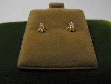 14K YELLOW GOLD EARRINGS WITH 1/10 CARAT TOTAL WEIGHT DIAMONDS
