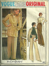 Vogue Yves Saint Laurent Vtg 70s Pattern 1027 Pants Suit Size 8 Uncut YSL OOP