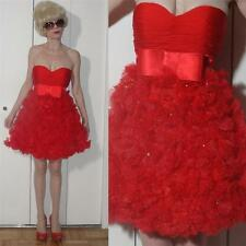 Jovani Designer Strapless mini Red Dress ruched corset Bow Flowers & beads 0 XXS