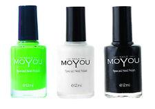 MoYou Nails Stamping Nail Polish colors  Atlantic Green , White and Black 12ML