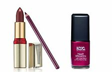 Loreal & NYC 3pc Grape Trio Set, Nail Varnish & Serum Lipstick & Lipliner