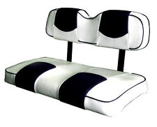 EZ-GO RXV Golf Cart Deluxe Vinyl Seat Covers-Staple On (Wht/Blk Top-PPng)