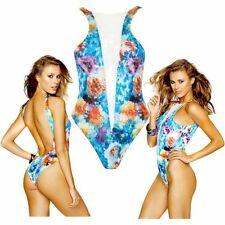 NWT$205 Beach Bunny Wave Lengths One Piece with Mesh Insert Blue [ Large ] #R633