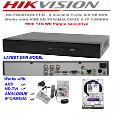4ch Hikvision Turbo 3.0 AHD,HDTVI DVR  1080p Security DVR with 1TB WD HARD DRIVE
