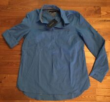 NWT Women's Bright Blue TOMMY HILFIGER Roll Tab Sleeves Button Front Shirt XL