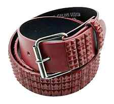 Men's Fashion Studded Belt (New S) Red Mini Studs Quality Genuine Italian Design