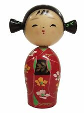 """Japanese Creative 6.25""""H KOKESHI Wooden Doll Girl with Pigtails, Made in Japan"""