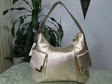 NWT Michael Kors Leather Beverly Large TZ Shoulder Bag Hobo Gold