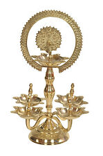 Traditional / Royal Brass Pooja Aarti Stand With Five Diyas