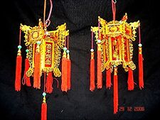 2 CHINESE L 17cm RED GOLD DRAGON PALACE LANTERN LIGHT NEW YEAR BIRTHDAY PARTY A2