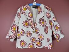 CJ0342- KASPER Woman Sportswear 55% Linen Jacket Multi-Color Geo Sz 12 MINT