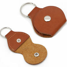 2Pcs Faux Leather Guitar Picks Bag Holder Organizer Container Keychain Brown
