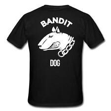 Bandit Dog T-Shirt Bullterrier Pit Bull Kampfhund Hund Weiß auf Schwarz S-3 XL