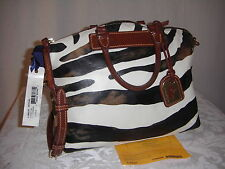 Dooney & Bourke   BRITISH  TAN  ZEBRA  PRINT  LEATHER  SATCHEL  SHOULDER   BAG