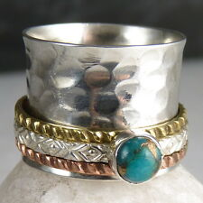 US 6 1/4 ~ 3-SPIN Hammered COPPER TURQUOISE Spinner SilverSari RING ~ 925 Silver