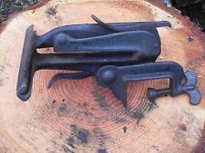 "Vintage Unmarked Cast Iron Hand Saw Sharpening Vice 9.5"" clamp BB"