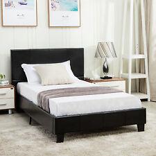 Full Size Faux Leather Platform Bed Frame U0026 Slats Upholstered Headboard  Bedroom