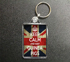 KEEP CALM AND KEEP GUINEA PIGS UNION JACK KEYRING BAG TAG PET LOVER GIFT