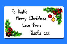 72 Personalised Christmas Present Sticker Labels 'From Santa' Custom Names