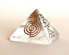 REIKI ENERGY CHARGED CLEAR QUARTZ PYRAMID ENGRAVED REIKI SYMBOLS NATURAL CRYSTAL