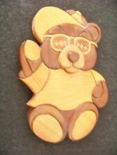 wood Teddy Bear wall hanging - made of 37 custom cut puzzle like pieces