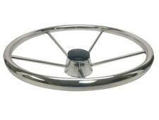"DESTROYER STYLE 15"" 5 SPOKE STAINLESS STEEL BOAT STEERING WHEEL W/CAP 7-0250"