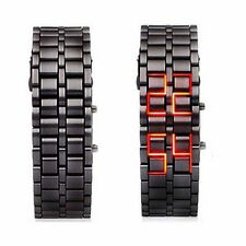 Fashion Black Digital Lava Wrist Watch Iron Metal Red LED Metal Samurai Mens
