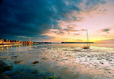 Framed Print - Small Sailing Boat on the Beach at Low Tide (Scenic Picture Sea)