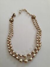 MIRIAM HASKELL LARGE BAROQUE PEARL NECKLACE 2 STRAND GRADUATED DOUBLE SIGNED