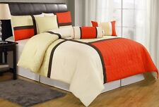 Chezmoi Collection 7pc Medallion Quilted Patchwork Duvet Cover Set King, Orange